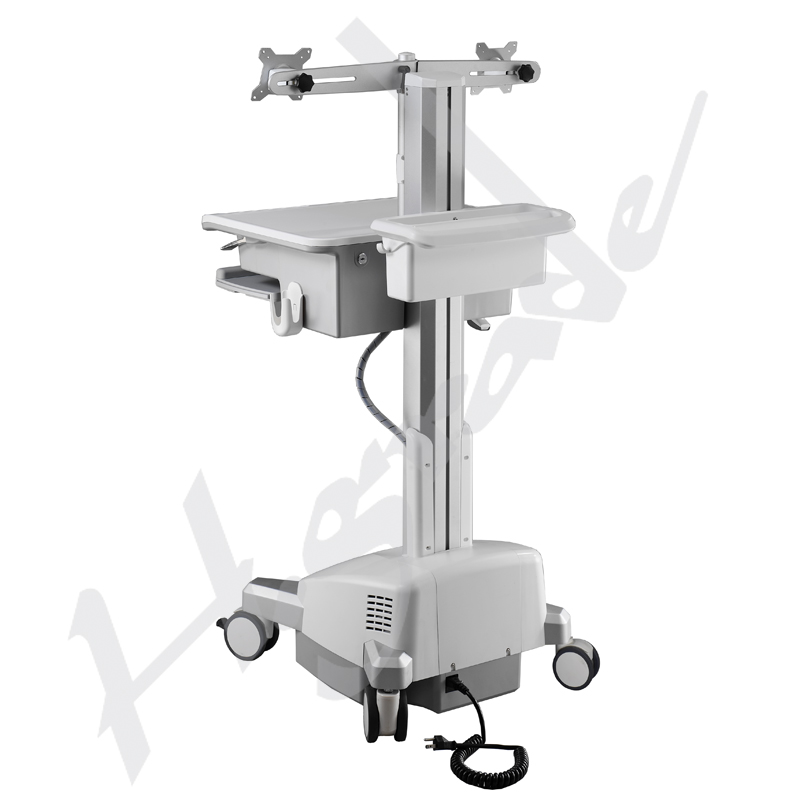 Mobile Trolley Cart for HealthCare IT - Dual Monitor, LiFe Powered