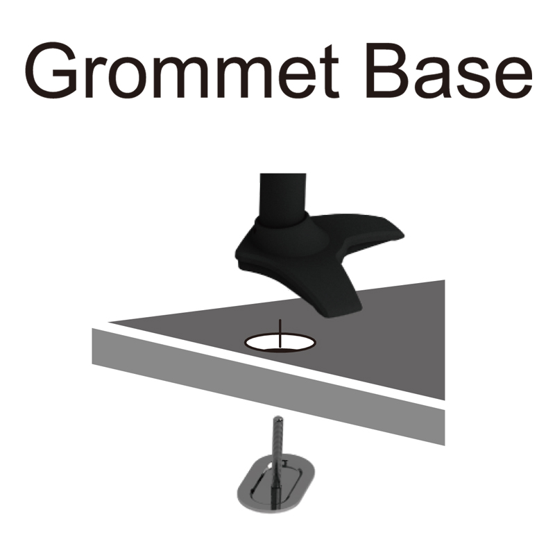 Vertical Dual LCD Monitor Stand - Grommet Base